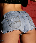 Nextdoor Models Sherri in Cute Blue Denim Shorts