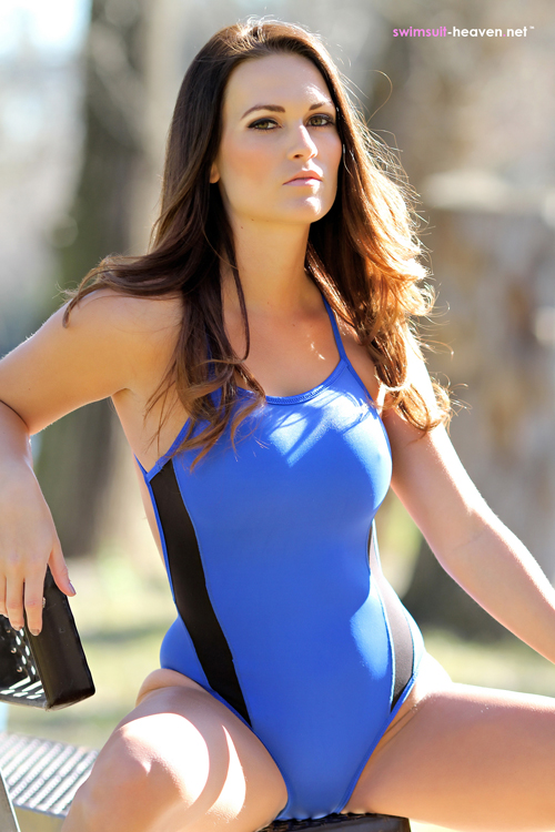 Sexy Brunette Morgan in her tight blue swimsuit on Swimsuit Heaven