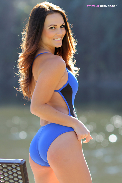 Classy Brunette Morgan in a Tight Blue Swimsuit