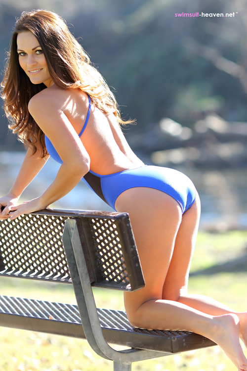Morgan Posing for Swimsuit Heaven in a Blue Swimsuit