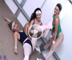 The Girls of Pinupwow put on their leotards and pantyhose for a workout
