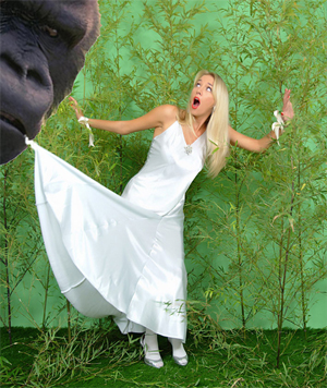 Hayley Marie is captured by King Kong who starts to strip her of her clothing