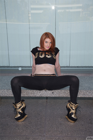 Hot Red-Head Teasing in Tight Pants for Zishy