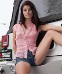 Alyson Grey in Blue Denim Shorts for Zishy