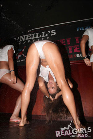 O'Neills Bar Girls on Stage in a Wild Wet T-shirt Contest