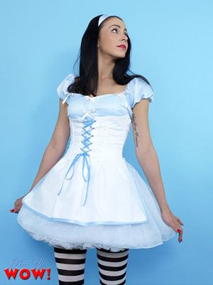 Pinup Girl Bryoni Kate is dressed up as Alice in Wonderland