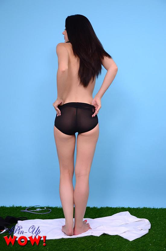 Bryoni Starts to Tug at her Sheer Panties for Pinup WOW
