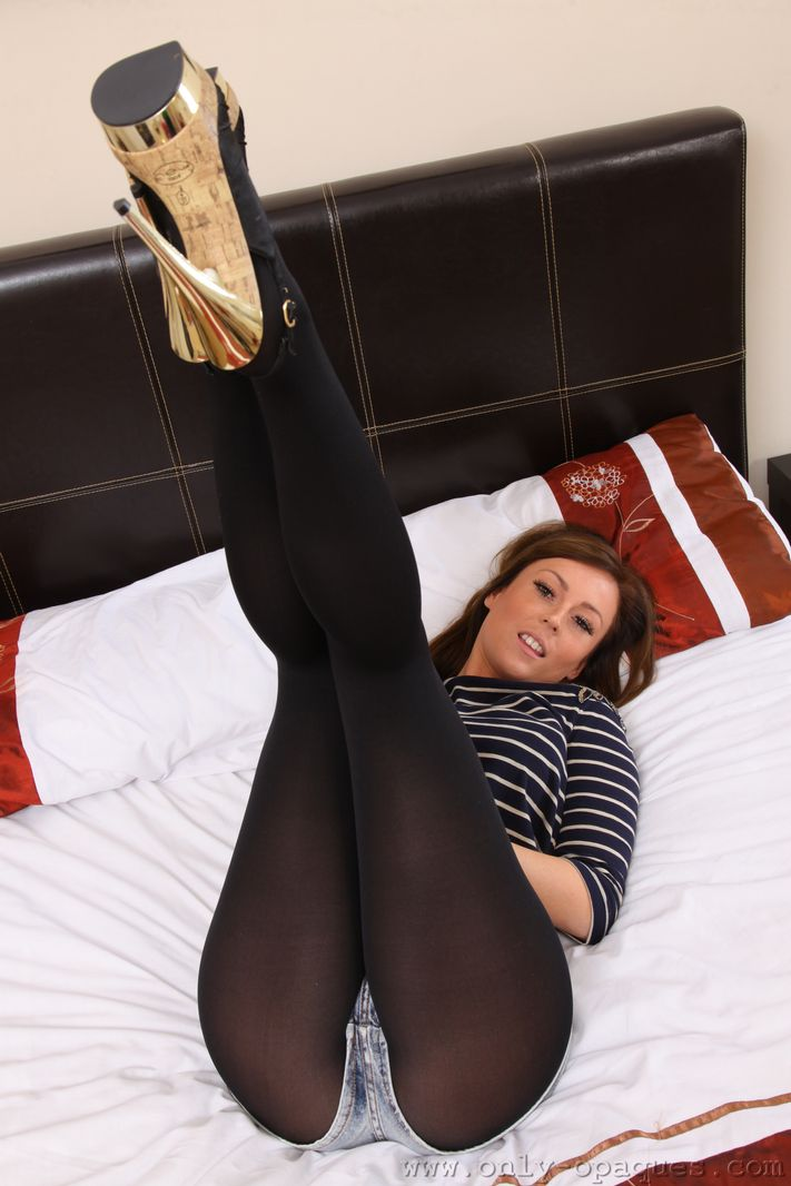 UK Girl Lauren W Teasing in Blue Denim Shorts and Pantyhose on OnlyTease