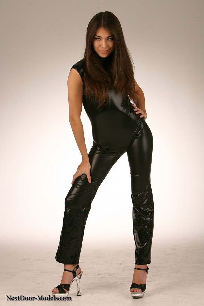 Lauren is Posing for Nextdoor Models in Tight Shiny Pants