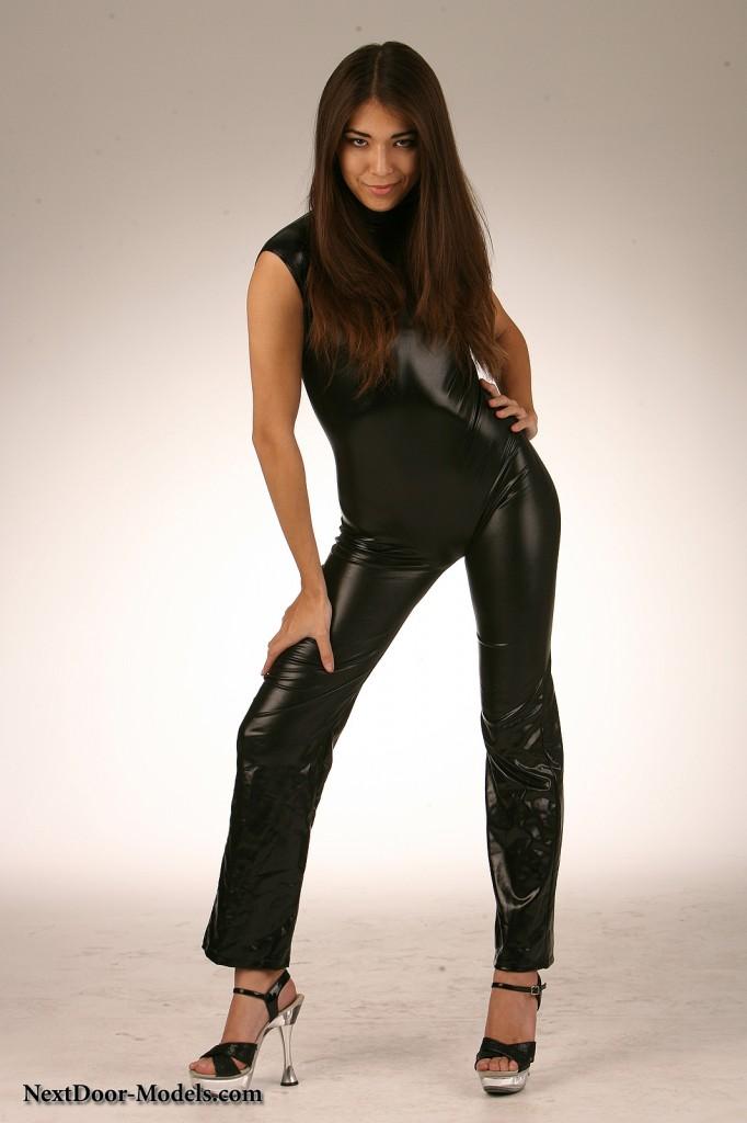 Lauren is Posing for Nextdoor Models in Tight Shiny Pants