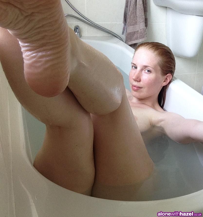 English Girl Hazel Showing her Feet in the Bath