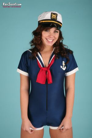 Kari Sweets Dressed Up in a Sailor Outfit for some Cosplay