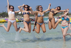 Real Welsh Girls, Rachel & Friends, on the Beach in Ayia Napa in their Bikinis with UGotItFlauntIt