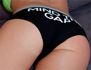 Nikki Sims in her Mind the Gap Panties