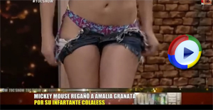 Girl pulls her shorts down on live television