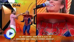 Brazlian girl on TV in spidergirl bodypaint