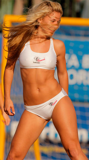 Beach Cheerleaders dancing in bikinis