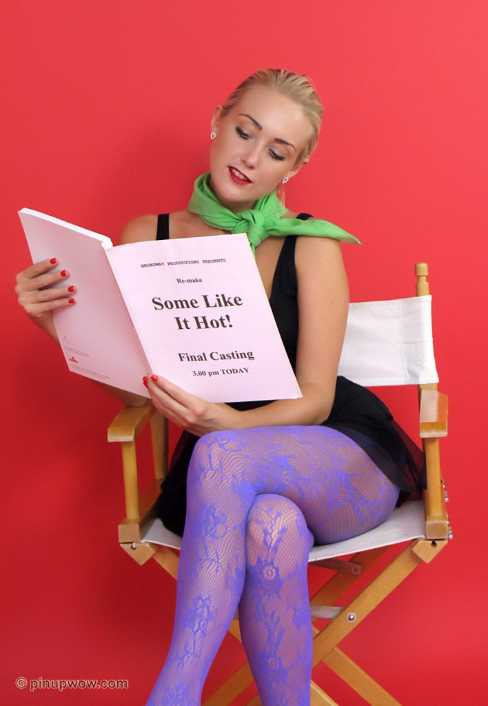 Lucy Anne Gallery - Casting on Pinup WOW, she's wearing purple pantyhose
