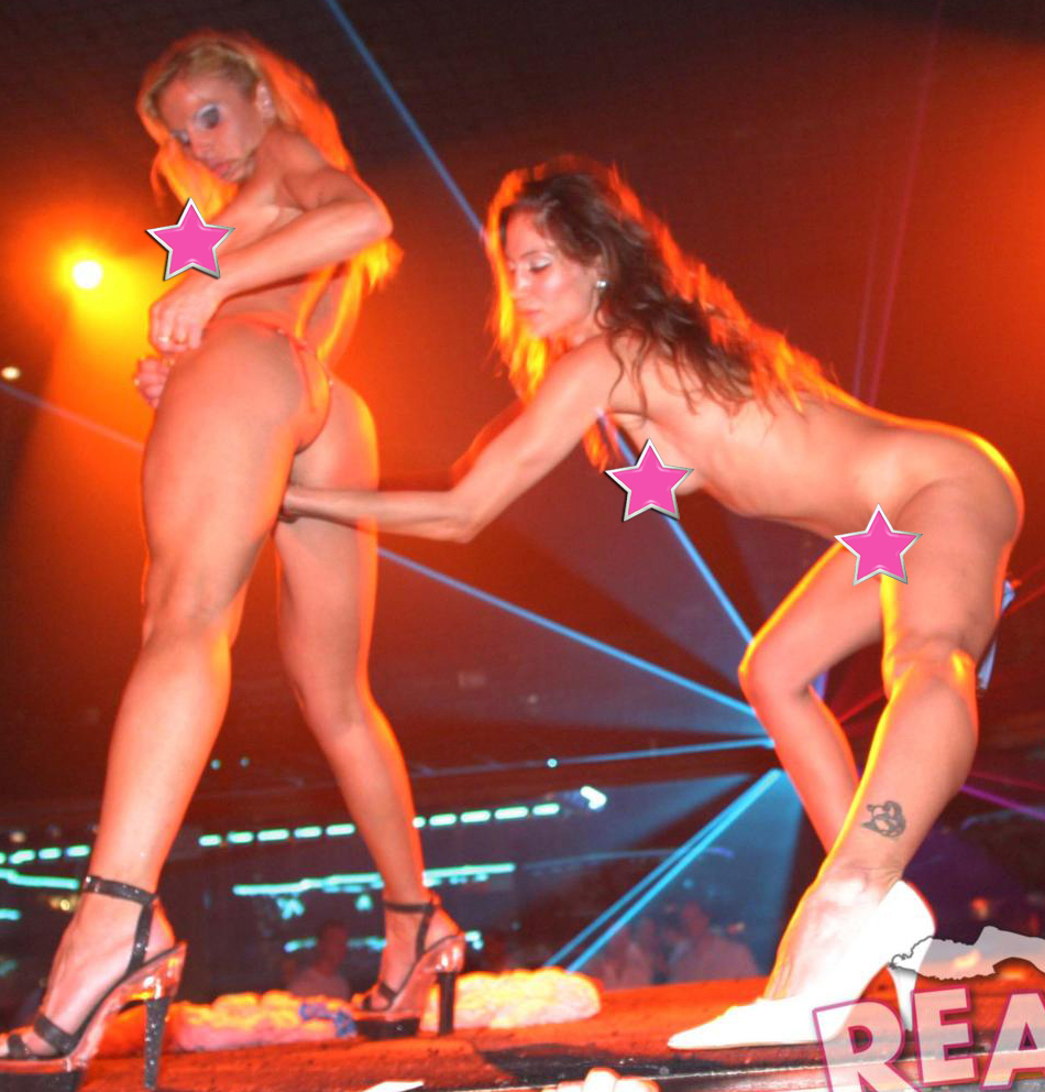 Real girls dancing and partying on stage, strip naked