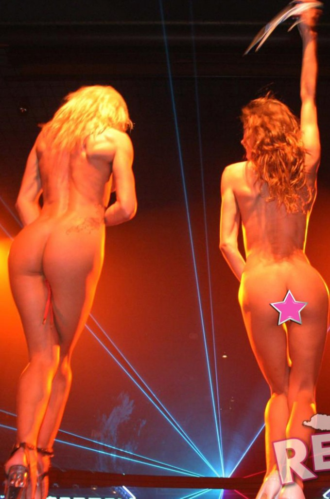 Two girls strip fully naked on stage