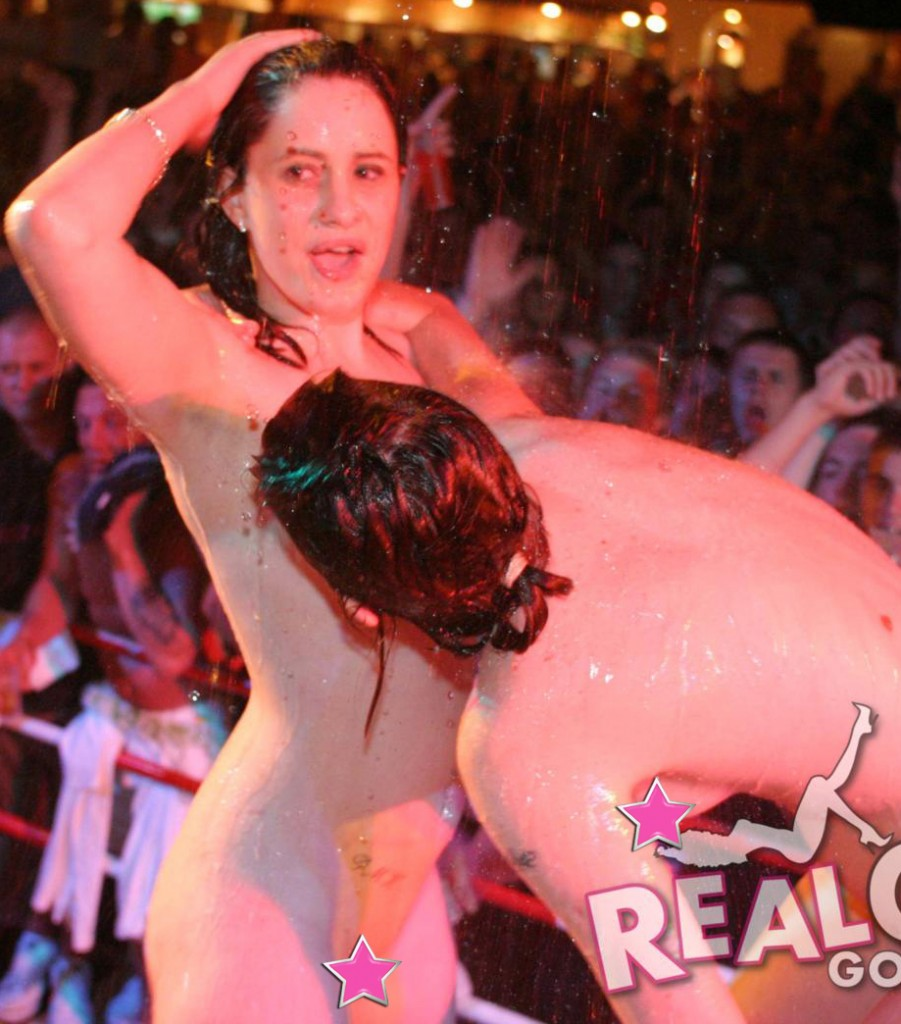 Real girls strip naked on stage