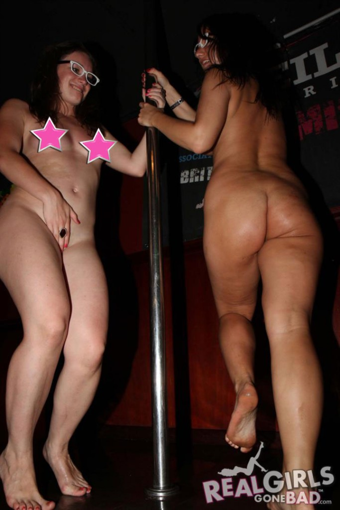 Naked UK Girls Dancing on Stage in a Pub