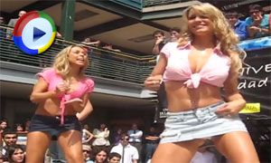Dancing Girls Upskirted on Stage
