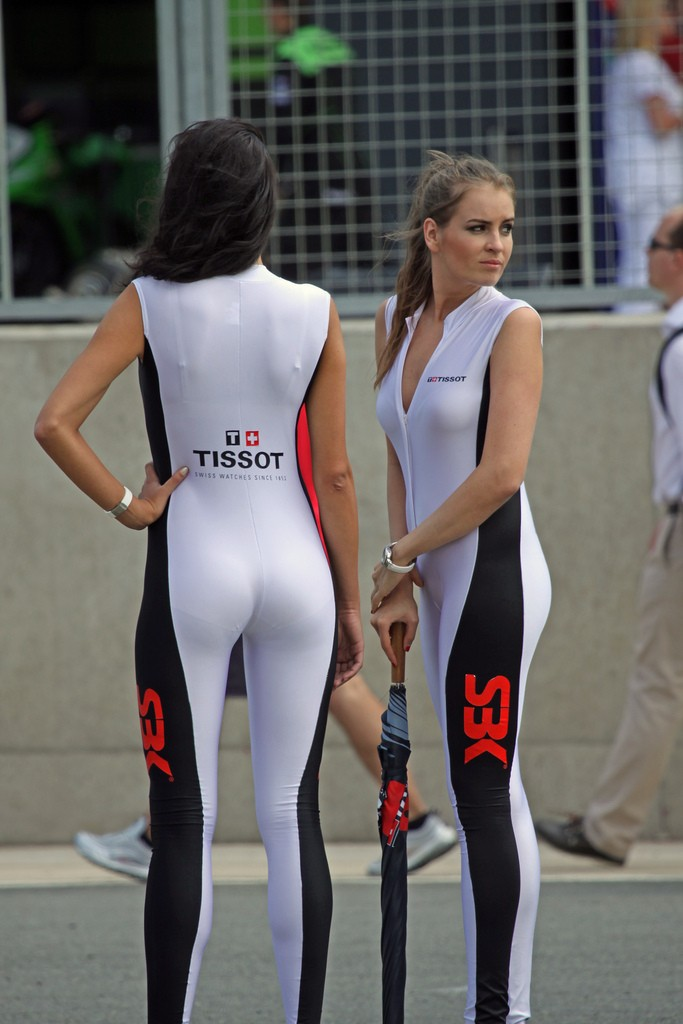 Race girls in tight revealing outfits