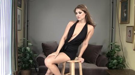 Beautiful brunette model poses
