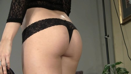 Tessa shows off her cute ass in a black thong for Sandlmodels