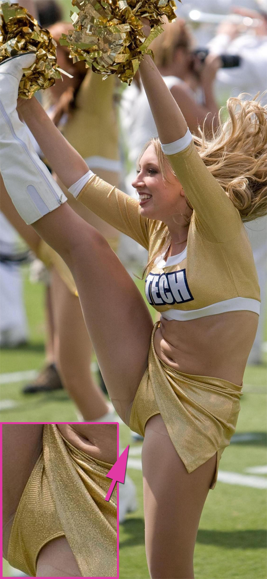A blonde cheerleader is kicking giving us a great upskirt view