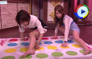Twister Upskirt Game on Live TV - Girls in Miniskirts Get Oops Upskirted
