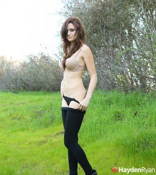 Hayden Ryan teasing with her panties outdoors