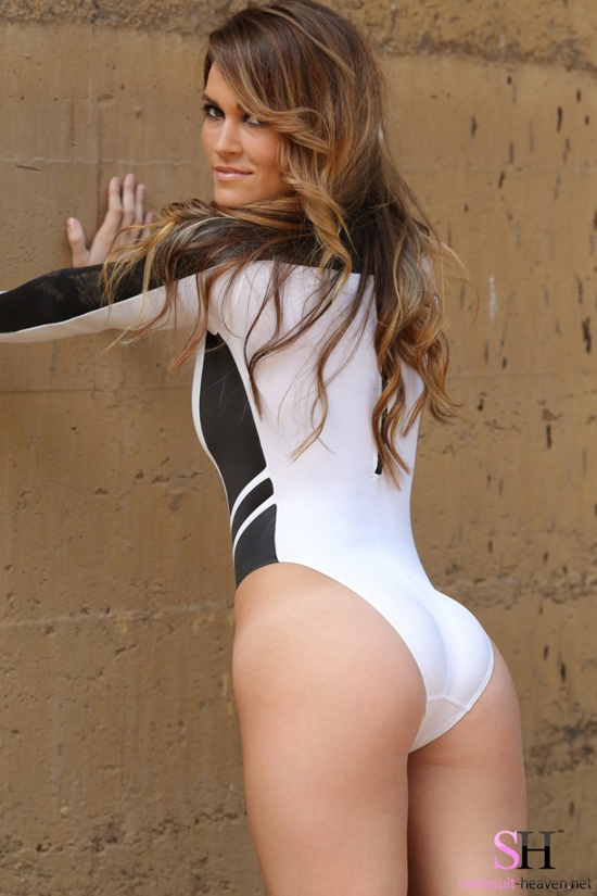 Morgan with a tight white swimsuit showing off her sexy ass for Swimsuit Heaven