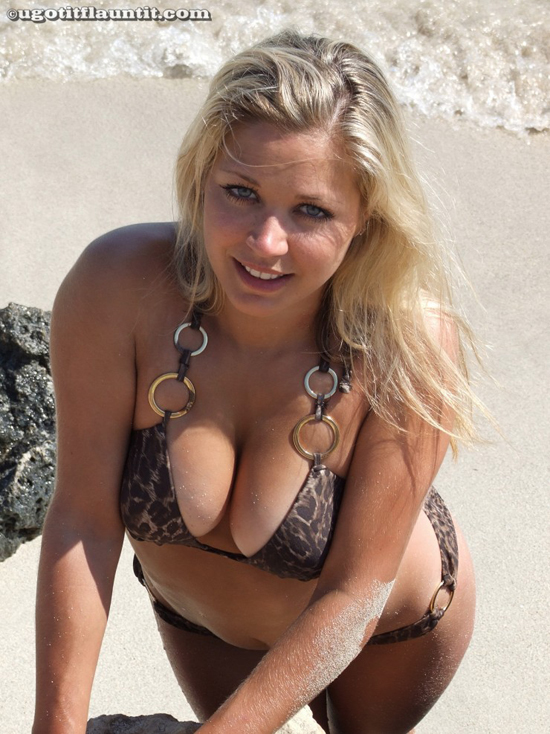 Blonde Natalie on the beach in her bikini with UGotItFlauntIt