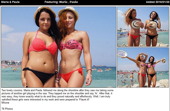Maria and Paula lose their bikini tops on the beach