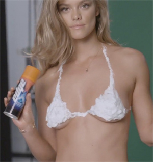 Nina Agdal in a Shaving Foam Bikini