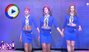 Air Hostess Strip Tease on TV