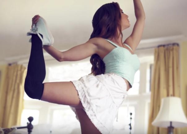 Sexy stretching upskirt
