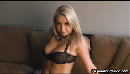 Blonde girl Claudia in her lace bra and panties