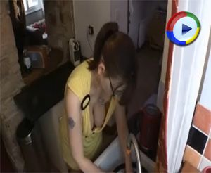 Faith shows Downblouse as she Washes the Dishes - Downblouse Loving