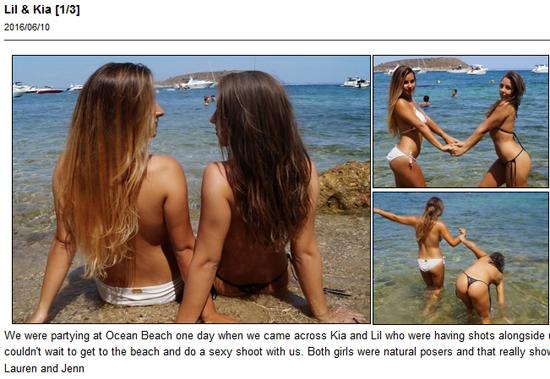 Kia and Lil having fun in just their bikini bottoms in the sea