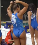 Water Polo Girls in Blue Swimsuits