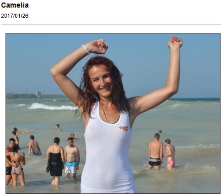 Camelia having fun in a wet t-shirt on the beach
