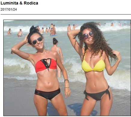 Luminita and Rodica having fun and looking cute in their bikinis on the beach
