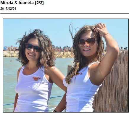 Mirela and Loanela in white t-shirts on the beach with Ugotitflauntit