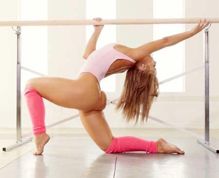 Singer and former gymnast Jillisa Lynn strips out of her pink leotard for Playboy