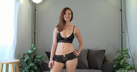 Annie teasing in lingerie for Sandmodels