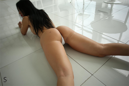 YanaQ is lying on the floor in a tight white thong with her legs apart on StasyQ