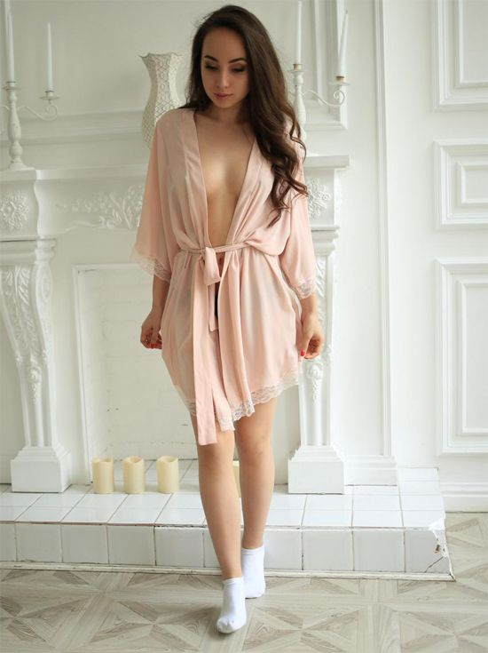 NicoleQ in a dressing gown